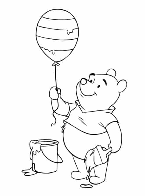 Pooh Easter Coloring Page
