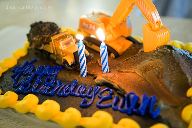 backhoe loader birthday cake