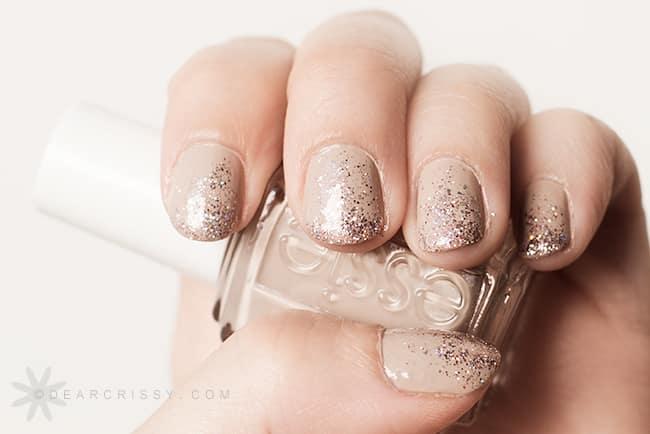 Essie sand tropez & glitter nails!