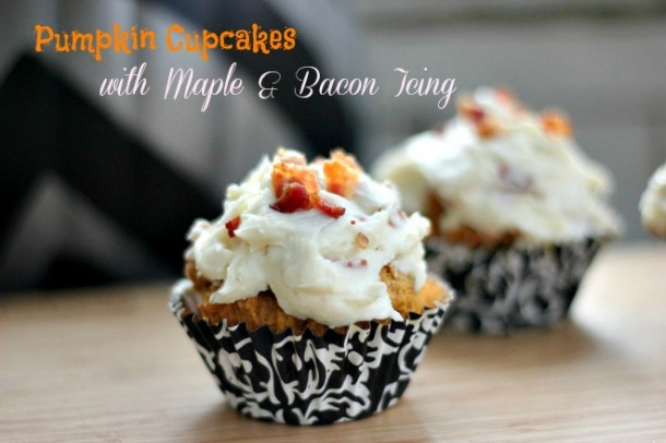Pumpkin Cupcakes with Maple & Bacon Frosting