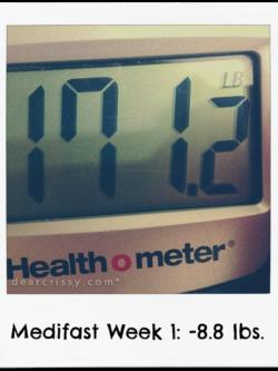Medifast Week 1 Results: Down 8.8 lbs. | via dearcrissy.com