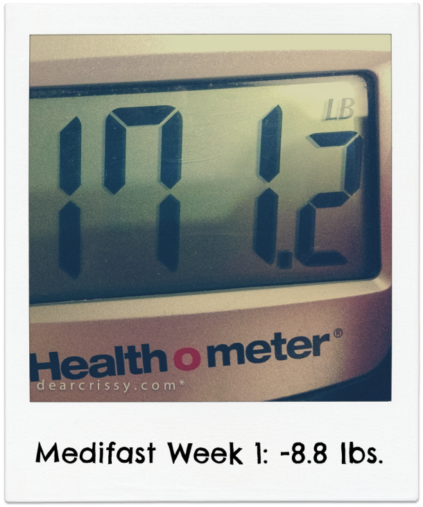 Medifast Week 1 Results: Down 8.8 lbs. | via dearcrissy.com