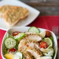 Parmesan Herb Crusted Chicken with Garden Salad