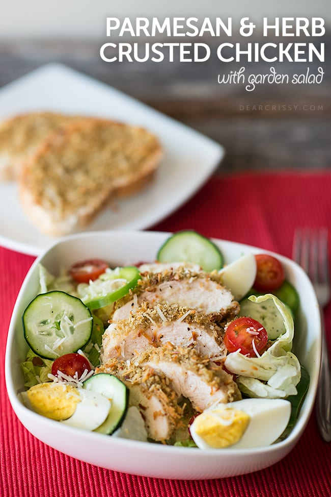 Parmesan Herb Crusted Chicken with Garden Salad