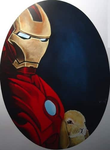 iron man with baby bunny rabbit print