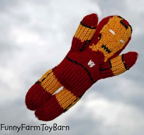 knitted waldorf iron man toy