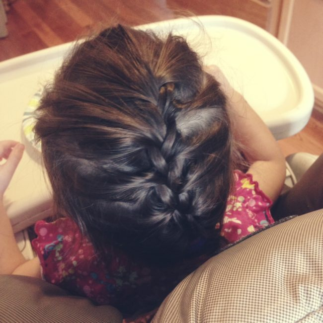 Her first French braid