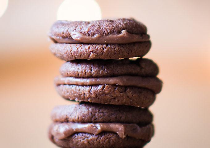 Milk chocolate mini sandwich cookies