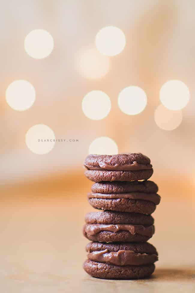 Milk chocolate mini sandwich cookies