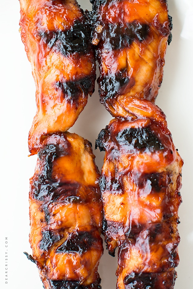 BBQ Chicken Tenderloin Kabobs - Just 5 ingredients, this is the perfect grilled chicken!