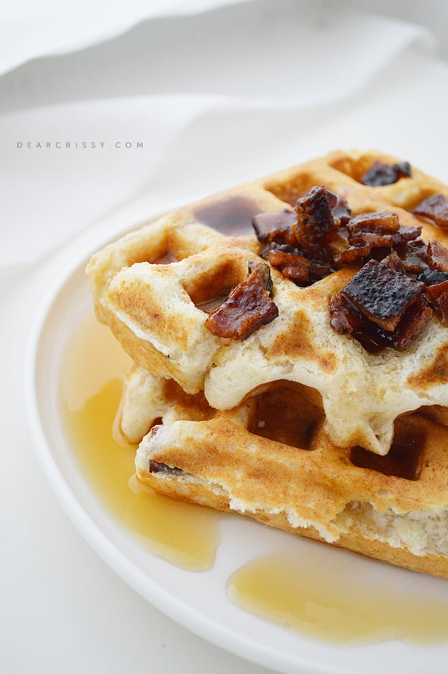 Bacon Waffles - These delicious bacon waffles can be made ahead and frozen. Just pop them in the oven or toaster for a quick and delish breakfast!