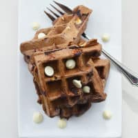 White Chocolate Waffles - these white chocolate waffles are sweet, delicious and feature Bisquick so they are very easy to make!