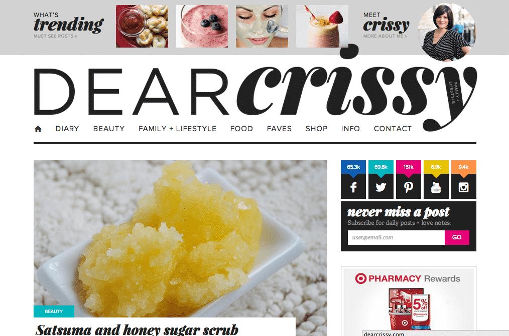 DearCrissy.com Blog Design
