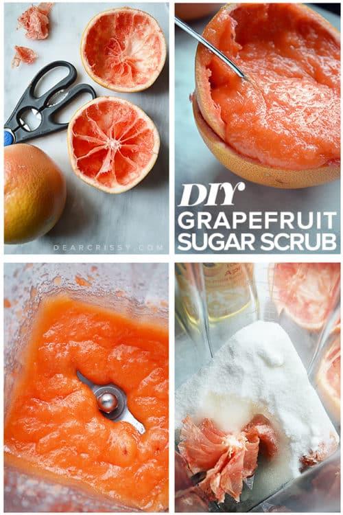 DIY Grapefruit Sugar Scrub - Exfoliate dead skin cells and renew damaged skin with this gentle homemade sugar scrub recipe!