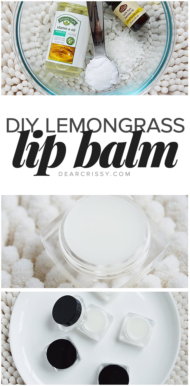 DIY Lemongrass Lip Balm - Pamper your lips with this ultra-moisturizing homemade lip balm featuring lemongrass oil and vitamin E oil.