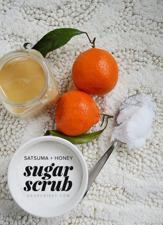 Homemade Satsuma and Honey Sugar Scrub - {so easy!} This skin-brightening DIY citrus and honey sugar scrub will transform your skin into gorgeous, GLOWING and soft skin! Don't have Satsumas? Use clementines or oranges!