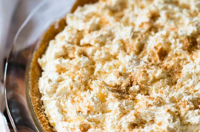 Pineapple Dream Pie - This luscious and creamy pineapple pie has a vanilla wafer crust. OMG, so, so good.!