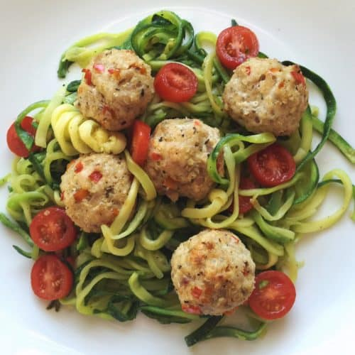 Zoodles with turkey meatballs. I made the zoodles using my Veggetti, you have to get one of these things!