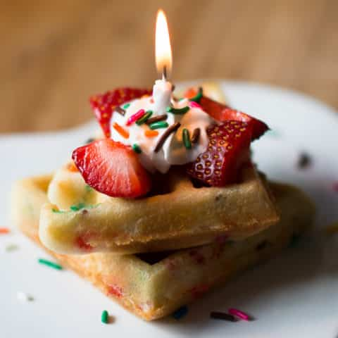 Cake Batter Birthday Waffles