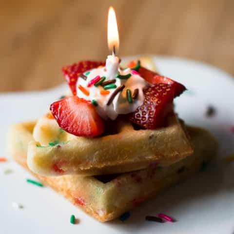 Cake Batter Birthday Waffles