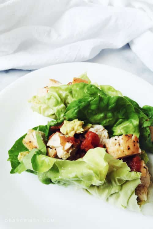 Clean Eating Lettuce Wraps with Chicken and Avocado - This light and wholesome clean eating recipe is perfect for lunch or dinner.
