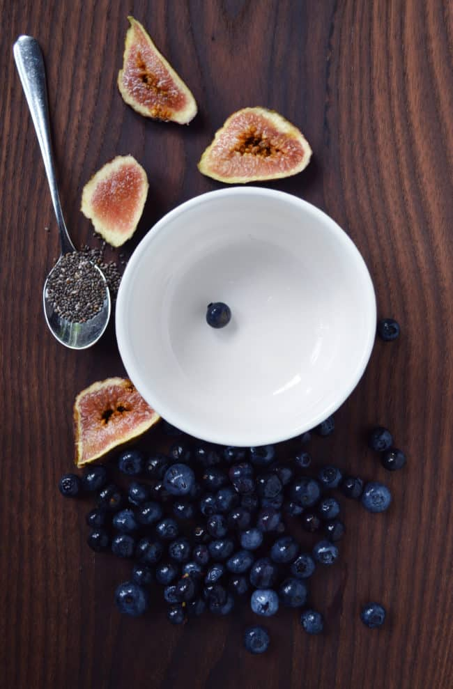 Smoothie Bowl with Blueberries and Fig - Have you ever tried a smoothie bowl? This berry and fig bowl topped with chia seeds and hemp hearts is out of this world and gorgeous to boot!