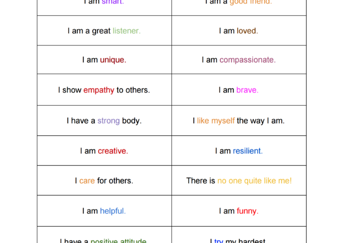 Positive Affirmations Printable for Kids - Share these encouraging statements with your kids int he morning before school starts, or cut them out and put them into their lunch boxes as a special note.