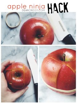 Apple Ninja Hack - Slice and apple and use a rubber band to secure the pieces together. Keeps apple slices from turning brown in your child's lunch box. BRILLIANT.