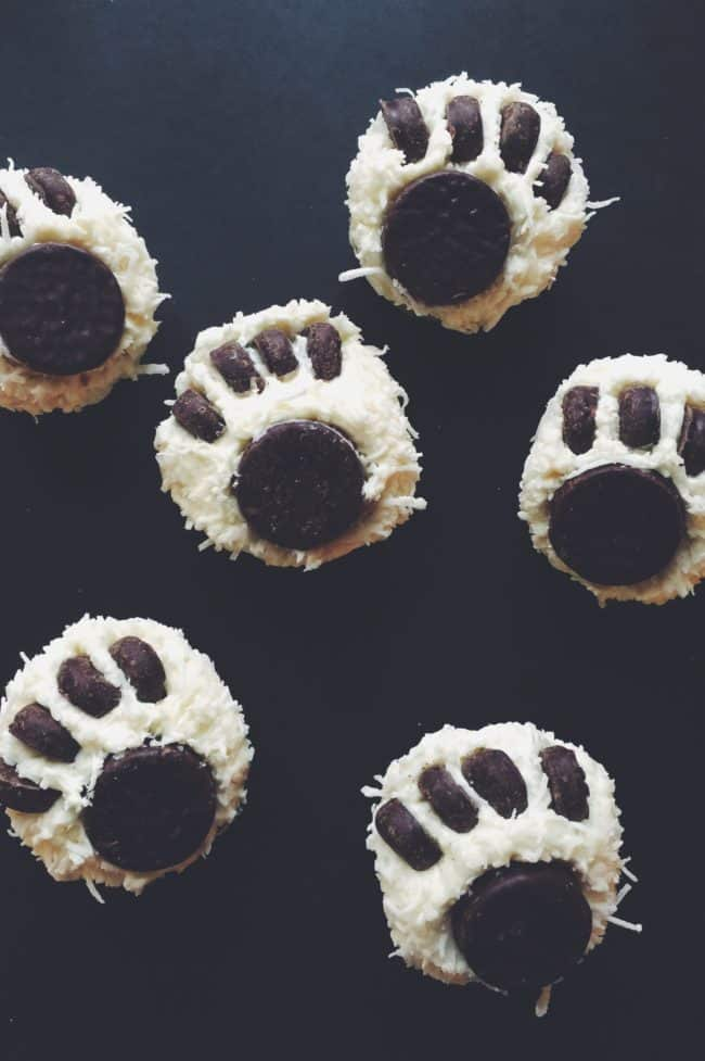 "Polar Bear Paw Print Cupcakes - These easy cupcakes are ""beary"" cute and delicious! This recipe was inspired by the film 'Norm Of The North', opening in theaters on January 15th! #NormOfTheNorth #ad"