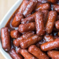 Crock Pot Little Smokies - Make this easy appetizer recipe in your crock pot using just three ingredients!