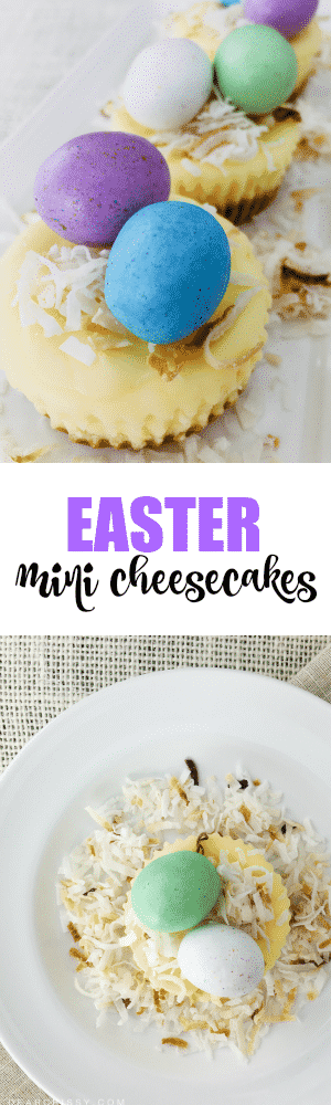 Easter Mini Cheesecakes - These simple little Easter mini cheesecakes look like bird nests thanks to toasted coconut and malted milk eggs!