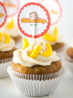 Curious George Banana Cupcakes Recipe - This Curious George inspired banana cupcakes recipe is perfectly delicious and perfect for your little Curious George fan!