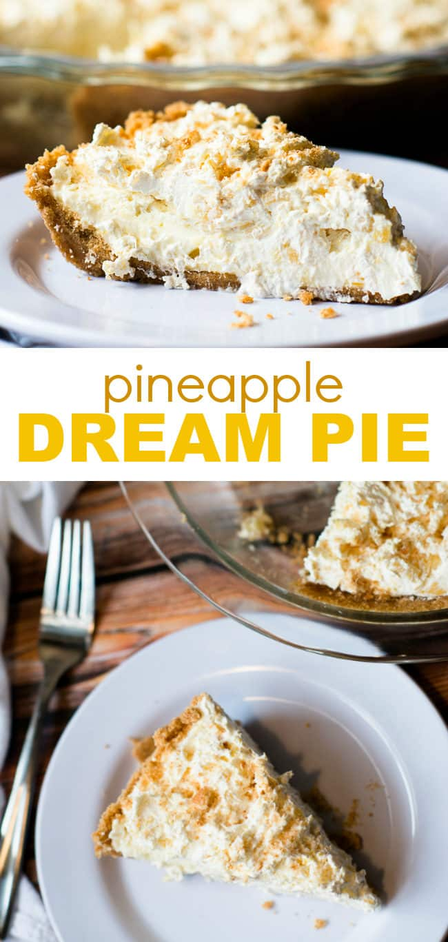 Pineapple Dream Pie - Fluffy pineapple cheesecake layers piled on sweet, crispy vanilla wafer crust? You do not want to miss this heavenly pie recipe! This is my favorite dessert recipe of all time.