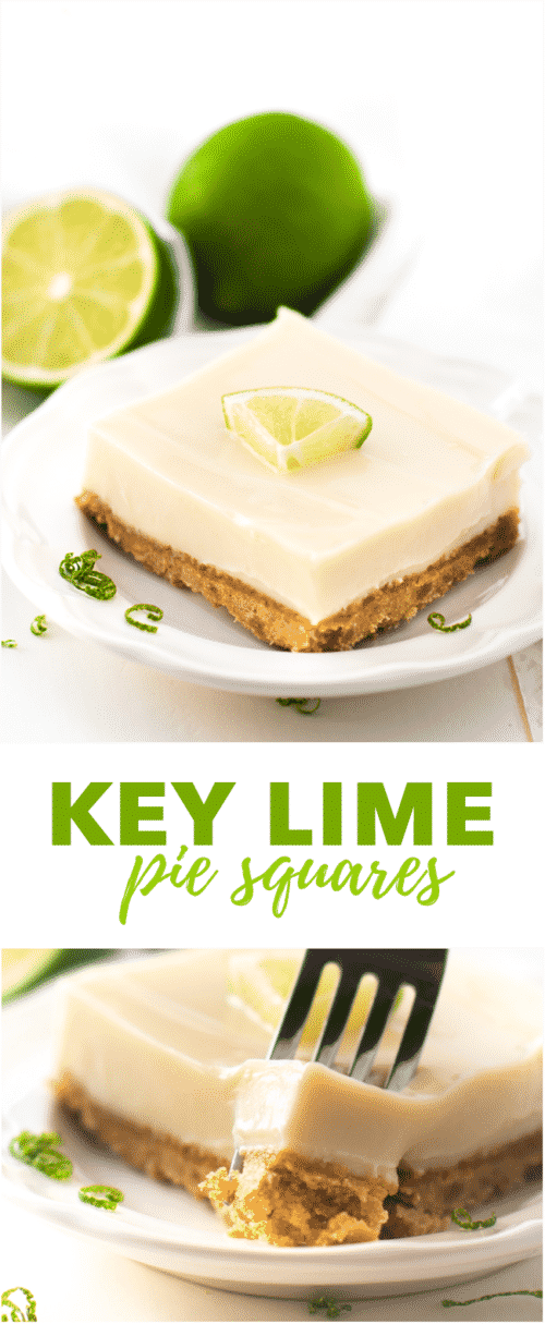 Key Lime Pie Squares - If you're a fan of key lime pie, you're going to love this sweet and tart key lime dessert. It's easy to make and egg-free!