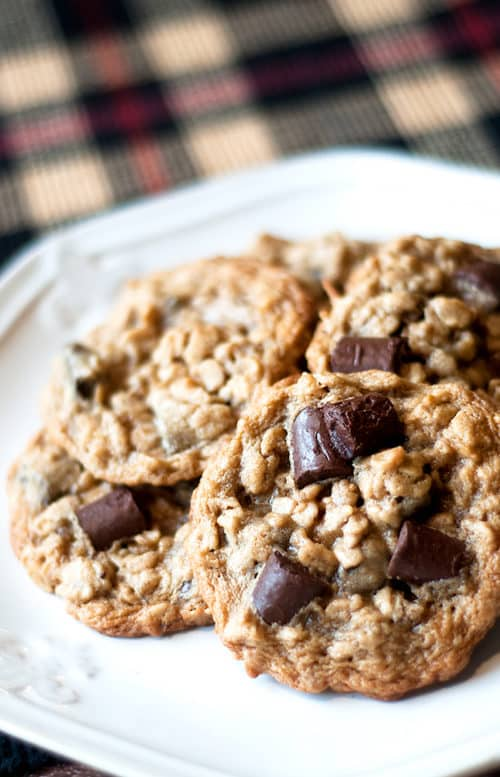 Chocolate Chunk Oatmeal Cookies - These chewy oatmeal cookies are loaded with chocolate making them the perfect ooey-gooey comfort cookie!