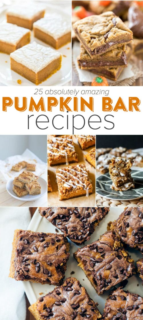 25 AMAZING PUMPKIN BAR RECIPES - We've rounded up the best pumpkin bar recipes on the web. Look no further, the pumpkin bar of your dreams is here!