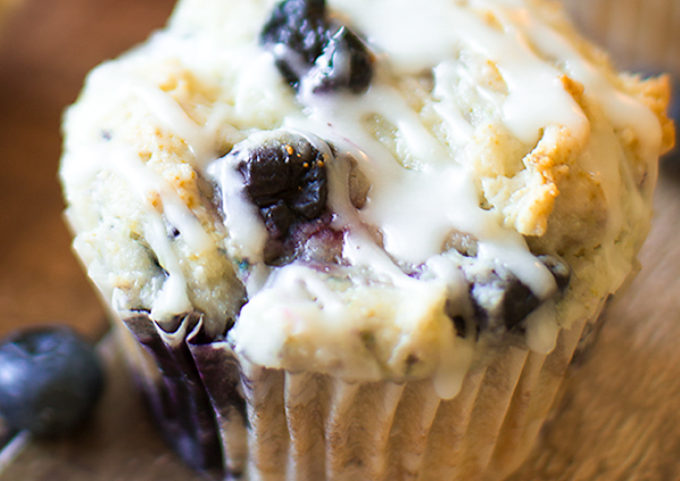 Blueberry Muffins with Lemon Glaze - This super-moist blueberry muffins recipe is a keeper. Pin it now and try it later!