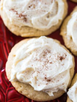 Soft Frosted Eggnog Cookies - These tender and delicious cookies will melt in your mouth this holiday season!
