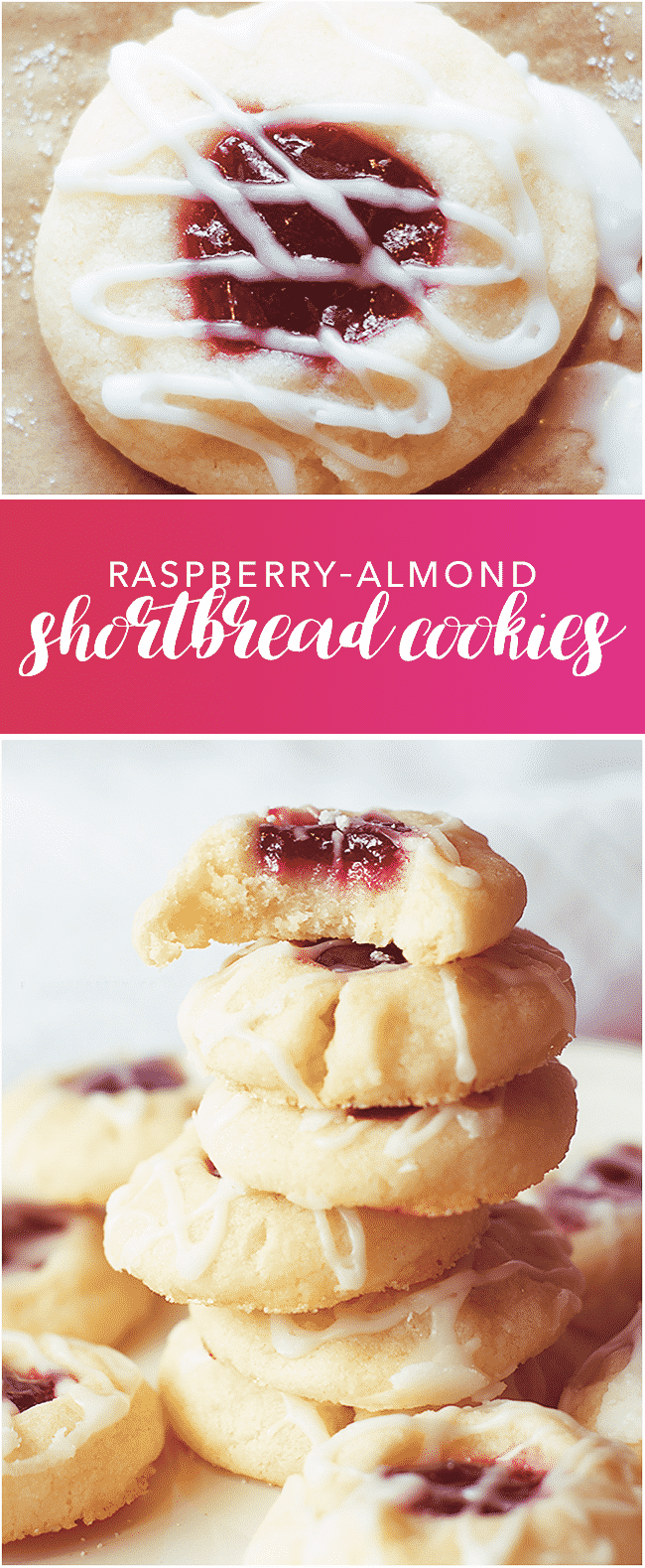 Raspberry Almond Shortbread Cookies - I just made these, they are by far the BEST holiday cookie recipe on Pinterest!