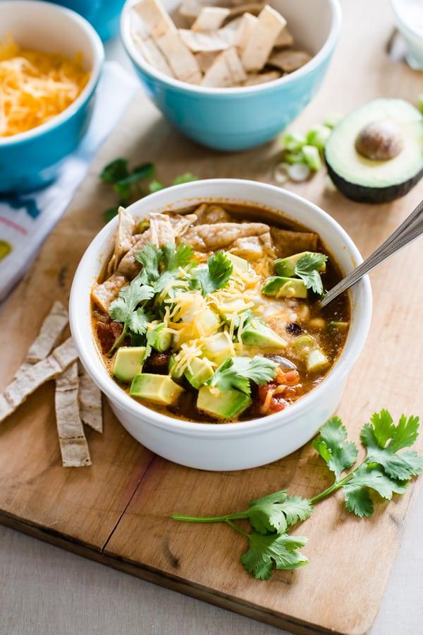Slow Cooker Veggie Tortilla Soup Recipe
