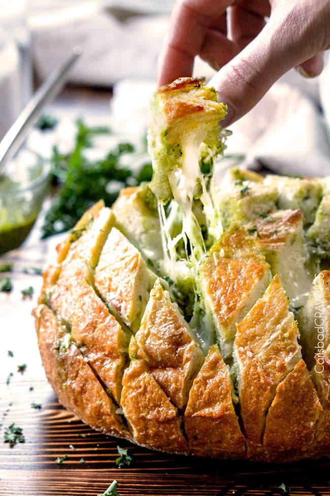 Cheesy Pull Apart Pesto Bread Recipe
