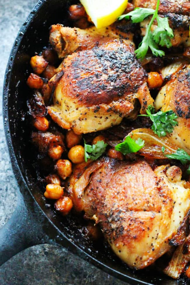 Harissa Chicken with Chickpeas and Yogurt Recipe