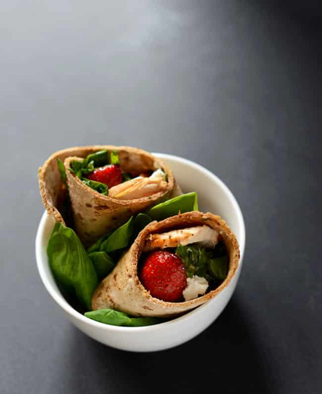 Strawberry Balsamic + Goat Cheese Salad Wraps Recipe