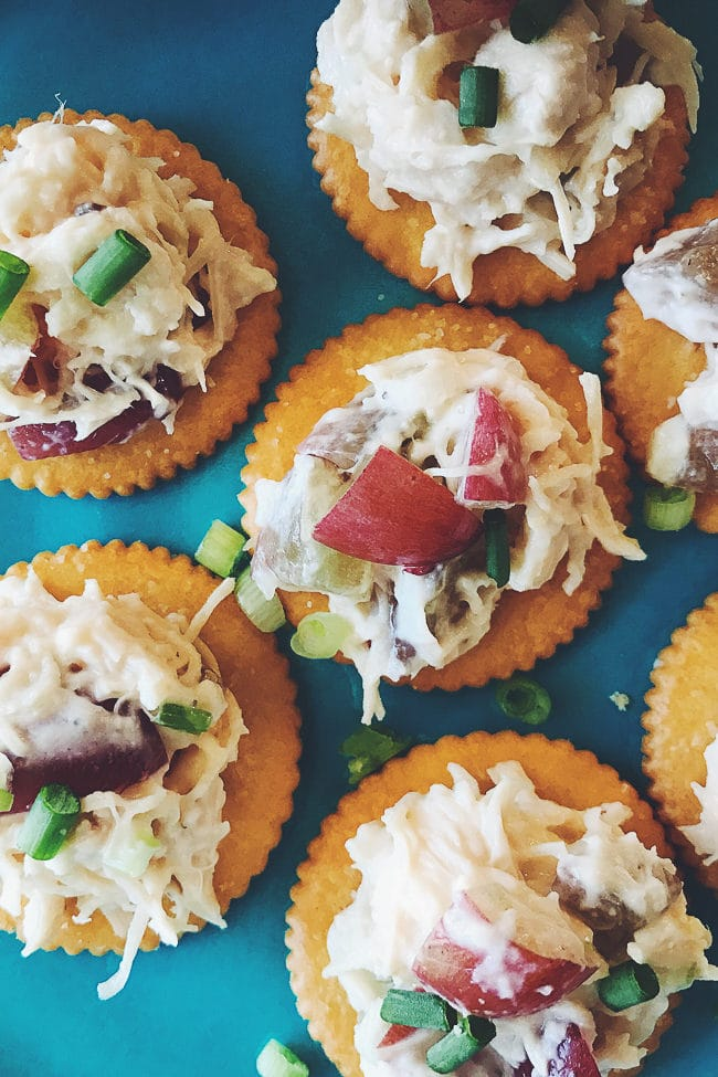 Chicken Salad Topped RITZ Crackers - These yummy little chicken salad bites make a great appetizer or snack.