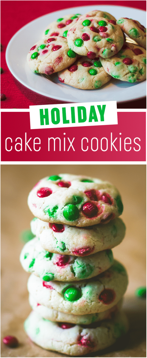 Holiday Cake Mix Cookies - These are the easiest and prettiest Christmas cookies on Pinterest, perfect when you want a quick Christmas treat but don't want to put up a lot of fuss. Five stars!