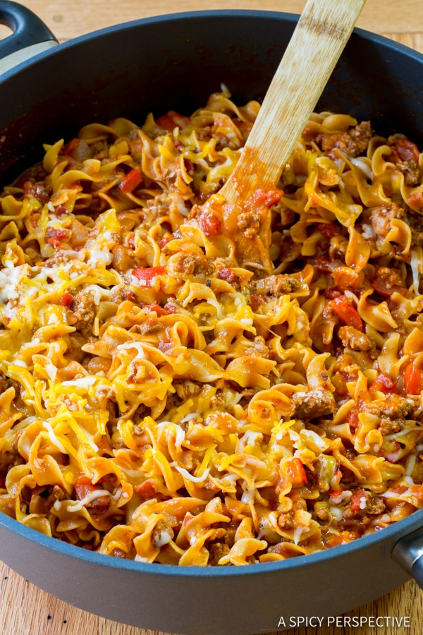 One Pot Sloppy Joe Noodle Skillet Recipe