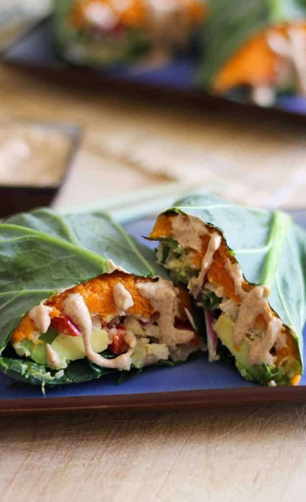 Roasted Sweet Potato And Cauliflower Rice Collard Wraps Recipe