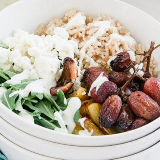 Roasted Grape, Arugula & Goat Cheese Buddha Bowl