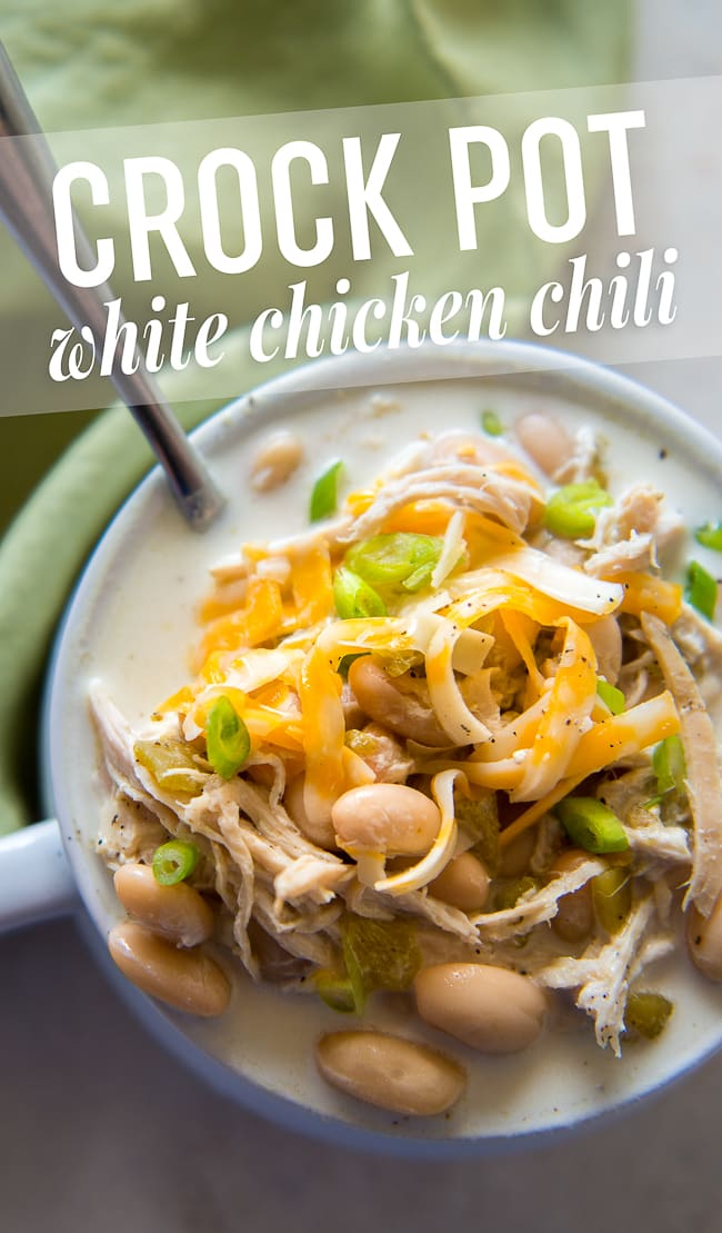 Crock Pot White Chicken Chili - This creamy white chicken chili that you make in your slow cooker is THE BEST white chicken chili I've had. Will make again and again!