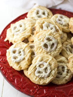 Pretzel-Topped Sugar Cookies - These sugar cookies look fancy but they're made using refrigerated cookie dough and store-bought chocolate covered pretzels. Shhh... no one needs to know!